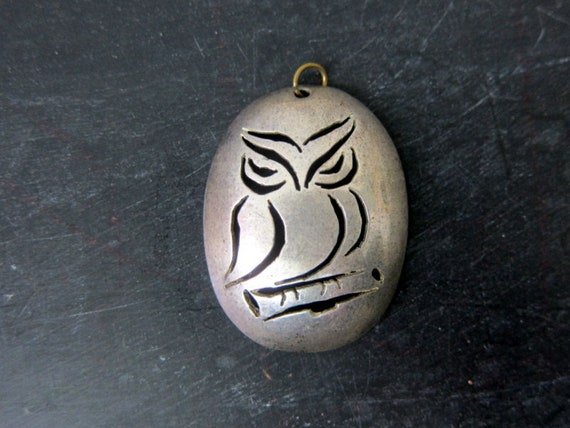 80s OWL Necklace   Large Silver Pendent Necklace   Animal Jewelry   Womens Cut Out Costume Jewelry Necklace
