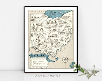 OHIO MAP - Enhanced High Res Digital Image Download - printable vintage state map for framing, totes, pillows & cards - lovely, fun map art