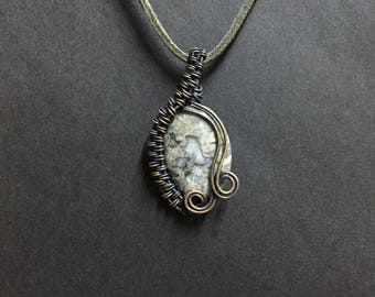 Stone Necklace, Copper Wire Wrapped Pendant Necklace