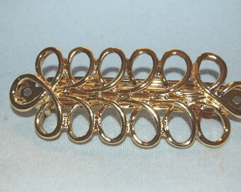 Barrette Hair Clip, Gold Metal, Vintage old jewelry