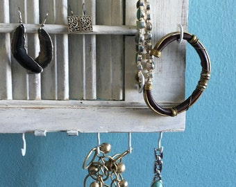 Jewelry Display - Necklace Holder - Modern Farmhouse - Shutter Storage - Dorm Decor - Home Decor