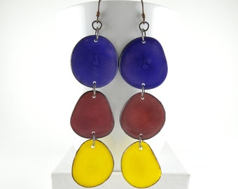 Pansy Purple, Garnet, Sunshine Yellow, Shoulder Duster, Trio of Tagua Nut Eco Earrings with Free USA Shipping #taguanut #ecofriendlyjewelry