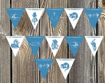 Alice in Wonderland Teatime bleu et blanc décoratif banderoles imprimables