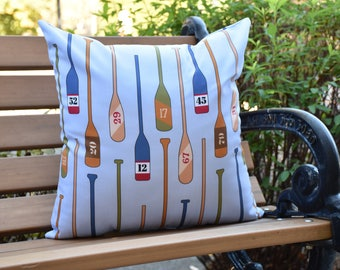 Oar Numbers 16 inch Blue Decorative Geometric Throw Outdoor Pillow