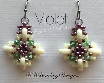 Violet Beaded Earrings Pattern