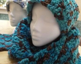 Hat, Scarf, Crocheted Scarf, Crochet Knit Scarf, Crocheted Hat, Crocheted Scarf, Hat and Scarf Set, Coat Scarf, Many Colors, Set
