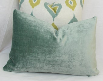 Seafoam blue velvet pillow. 12 x 20. 12x24 Seafoam velvet lumbar pillow Aqua lumbar pillow Teal lumbar pillow Robert Allen velvet pillow.
