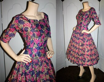 Vintage 50's Tea Time of California Watercolor Taffeta Party Dress. Small.