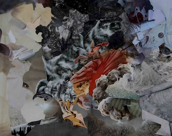 Stormy Weather - (dreamlike imaginary abstract fantasy worlds table collage travel)