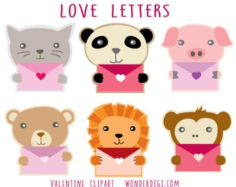 Valentine Clipart-Cute Animals Clip art - Animal Characters Valentines Love Letter Clipart