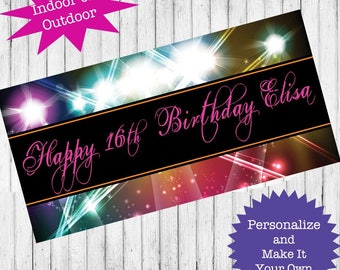 """18""""x30"""" Disco Club Birthday Party   Personalized Party Banner   Sweet 16   Quincinera   Retro Dance Party"""