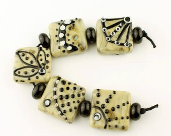 Handmade Lampwork Glass Beads Set, Large Square Tab Focal Brown, Black