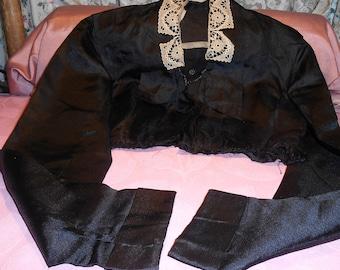 Antique Victorian Dress Top Lace Collar Black Silk