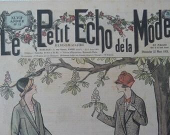"""Antique French magazine """"Le Petit echo de la Mode"""" Alsace Journal Gazette fashion magazine 1925 Art deco Edwardian style original"""