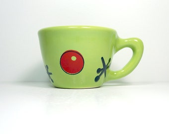 12oz cup with Jacks & Ball print, shown here on tinda green glaze - Made to Order / Pick Your Colour
