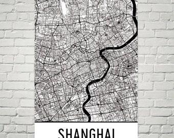 Shanghai Map, Shanghai Art, Shanghai Print, Shanghai China Poster, Shanghai Wall Art, Shanghai Gift, Map of Shanghai, Shanghai Decor, Art