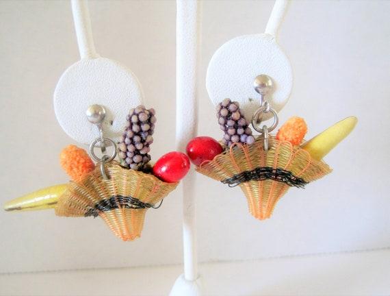 Fruit Salad Dangle Earrings, Fruit Basket, Screw Backs, Carmen Miranda