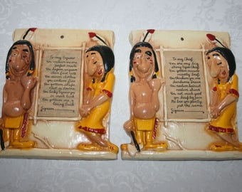 Vintage Burwood 1960s Roadside Kitsch Indian Plaques Native American Indian Chief Squaw
