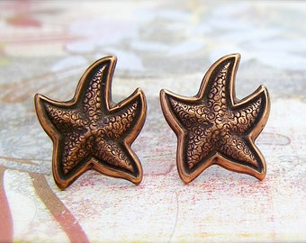 Copper Starfish post earrings