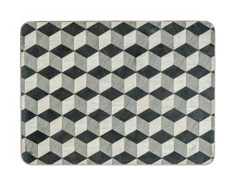 Set 8 Grey Placemats 8 Coasters Geometric Savile Row from Gatsby range Art Deco Gray Retro Placemats Wedding Gifts Escher E Inder Designs