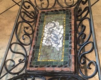 Mosaic tray, broken chins, handmade, dragon motif Asian theme, wrought iron
