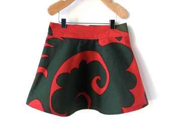 Girls Size 3T Christmas Skirt -Red and Green Marimekko Cotton
