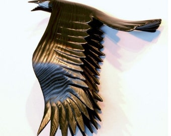 Flying Crow wood carving, Gesture 3 by Jason Tennant