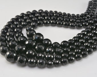 black onyx graduation beads - faceted round black beads - natural stone beads - black beads -jewelry making beads - beads supplies-16.5inch