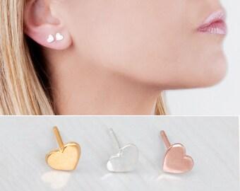 Rose Gold Heart Stud Earrings, Heart Stud Earrings, Tiny Earrings, Pink Gold Earrings, Cute Earrings, Womens Studs, Girls Earrings, Silver