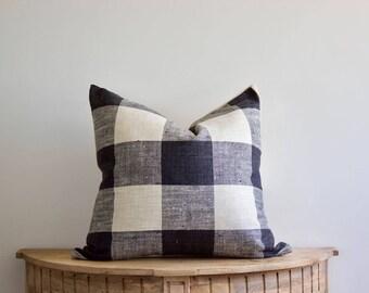 18x18  Black Rustic Buffalo Check Pillow Cover
