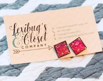 12mm square druzy earrings-druzy studs-druzy-faux druzy earrings-boho jewelry-fancy stud-boho studs