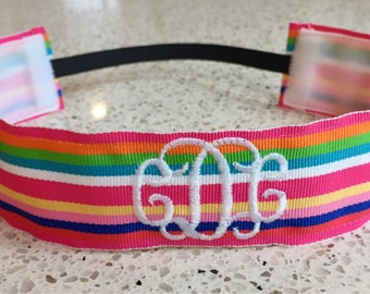 Monogrammed Non-Slip Headband - Monogrammed Chevron headband - THICK size - monogrammed zig zag headband