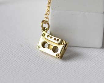 small cassette tape necklace,gold charm cassette tape pendant,tiny cassette tape jewellry,cassette chain pendant,cassette chain necklace