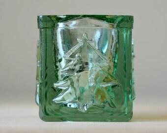 Vintage,Green Glass,Glass Candleholder,Christmas Candleholder,Heavy Glass,Heavy Candleholder,Christmas Gift