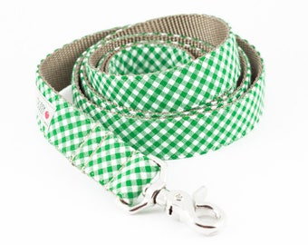 Green Gingham Dog Leash