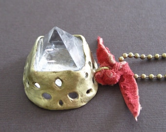 Pyramid Crystal Quartz Point Tip Bronze Pendant Necklace Byzantine Medieval Game of Thrones