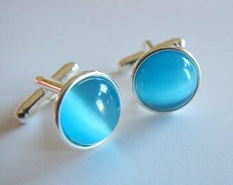 Aqua- Silver Plated Cufflinks For the Groom or Groomsman/ Prom with Aqua Catseye Glass