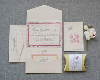 Boho Pink Floral Pocket Wedding Invitation, Garden Wedding Invite, Bohemian Calligraphy Invitation Suite, Pink and Green | Vivienne & Miles