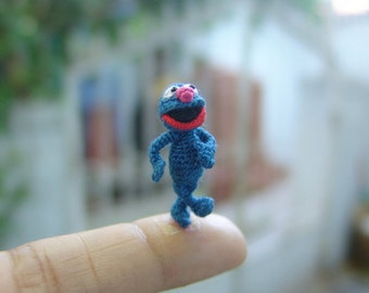 1 inch crochet navy blue muppet doll - micro amigurumi miniature muppet