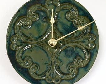 Baroque Inspired Ceramic Wall Clock in Smoky Blue