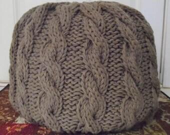 Cable Knit Pouf, Pouf Ottoman, Nursery Pouf, Knit Pouf, Made to Order