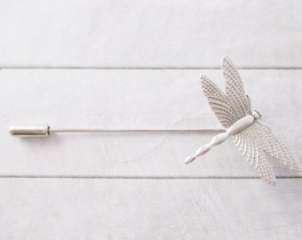 Silver dragonfly brooch Dragonfly Stick pin Lapel pin Brass brooch Nature Wedding Bridesmaids Bridal Gifts for her Accessories Jewelry