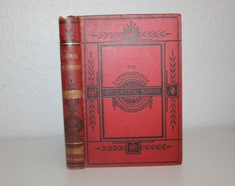 Antique Book, Animal Locomotion with a Dissertation on Aeronautics by J. Bell Pettigrew 1873, Hot Air Balloon, Red Book, Red and Black