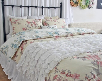 Reversible Duvet Cover King French Country Bedding Egyptian Cotton Blossom Branches Birds Duvet Cover Bedding Sets