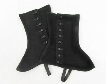 1920s Black Wool Felt Spats - Metal buttons  - Adonis Beacon Shoe Co label ca 1920s Mens/Ladies