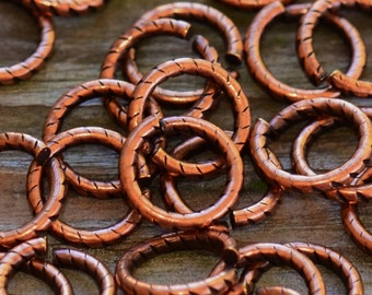9mm Antique Copper Textured Round Jumprings Pick Your Own Bulk Price