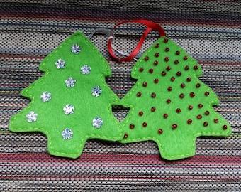 Set of 2 felt Christmas tree ornaments