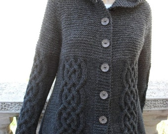 Knit Sweater Womens Cable Knit Jacket Cardigan Dark Grey Hooded Coat