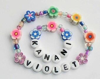 "Doll Jewelry ""Me and My Doll"" Bracelet Set PERSONALIZED American Girl Size Name Bracelet Set Matching Jewelry for Kanani 18"" doll bracelet"