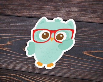 Pack of 4 Nerdy Owl Stickers, Owl with Glasses, Nerdy Owl